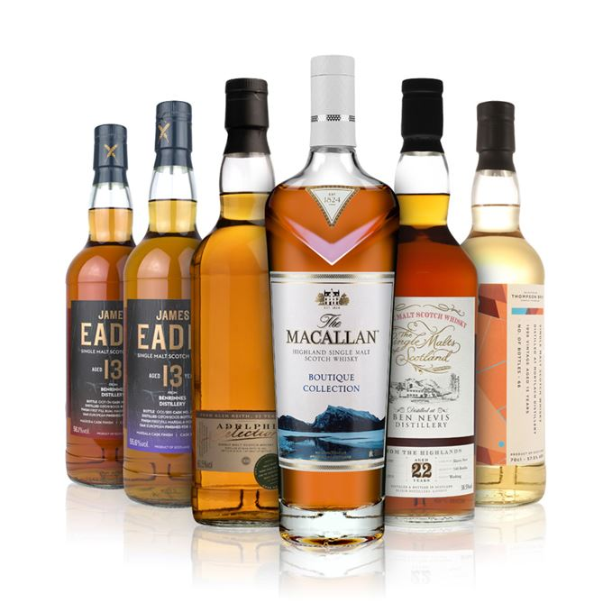 Ben Nevis 22 Years Old (Single Malts of Scotland); Benrinnes 13 Years Old, Bual Madeira Finish (James Eadie); Benrinnes 13 Years Old, Marsala Finish (James Eadie); Glen Keith 23 Years Old (Adelphi); The Macallan Boutique Collection 2019; Mortlach 13 Years Old (Thompson Brothers)