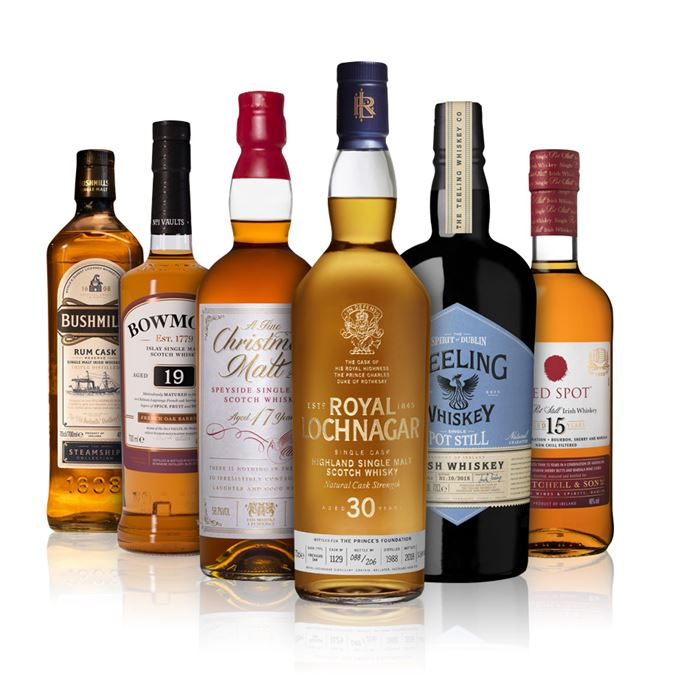 Bushmills Rum Cask, Bowmore 19 French Oak, Christmas Malt, Royal Lochnagar 30, Teeling Single Pot Still, Red Spot