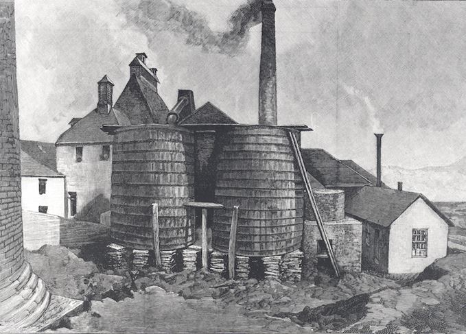 Glenlivet distillery and worm tubs, 1890