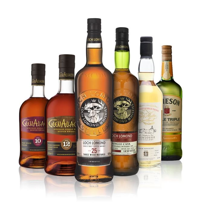 GlenAllachie 10 Years Old Port Finish; GlenAllachie 12 Years Old, Pedro Ximénez Sherry Finish; Glenlossie 11 Years Old (Single Malts of Scotland); Jameson Triple Triple; Loch Lomond 14 Years Old; Loch Lomond 25 Years Old, Three Wood Matured