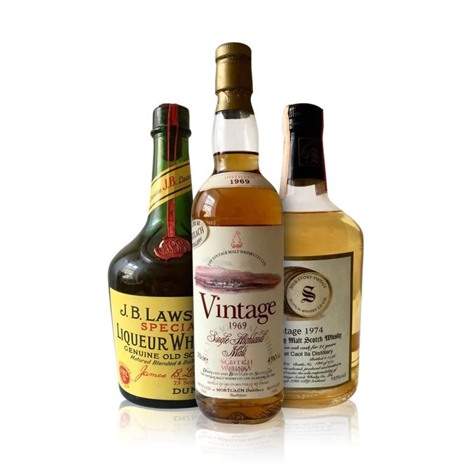 J. B.Lawson's Special Liqueur Whisky, Caol Ila 1974 from Signatory, and Mortlach 1969 from Vintage Malt Whisky Co.