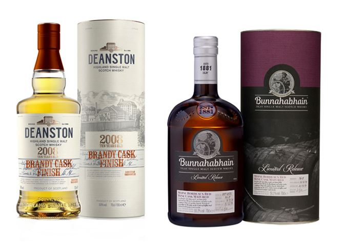 Bunnahabhain 2008 Mòine Bordeaux Red Wine Cask Matured and Deanston 2008 Brandy Cask Finish