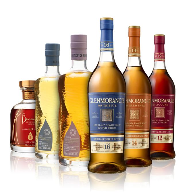 Glenmorangie's the Accord, Elementa and Tribute bottlings, Cu Bocan Creations #1 and #2, and Benromach 50 Year Old