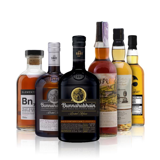 Six Bunnahabhains: Palo Cortado finish, Mòine 2008 Bordeaux Cask, Pastoral cask from Scyfion Choice, Bn7 from Elements of Islay, 27 years old Marriage of Casks from Elixir Distillers, 2008 Octave from Duncan Taylor