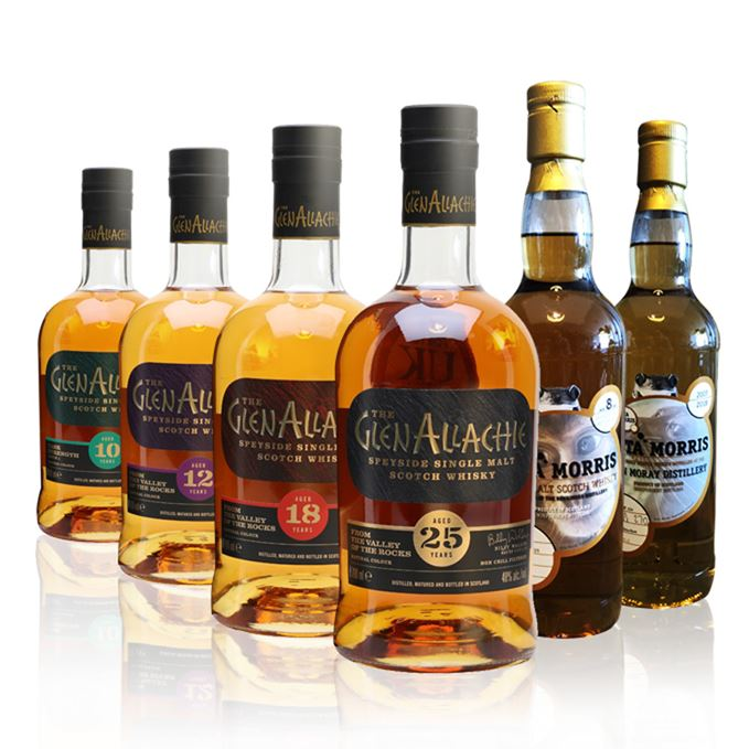 GlenAllachie 10-year-old, 12-year-old, 18-year-old and 25-year-old, with Benrinnes 8-year-old and Glen Moray 10-year-old from Asta Morris