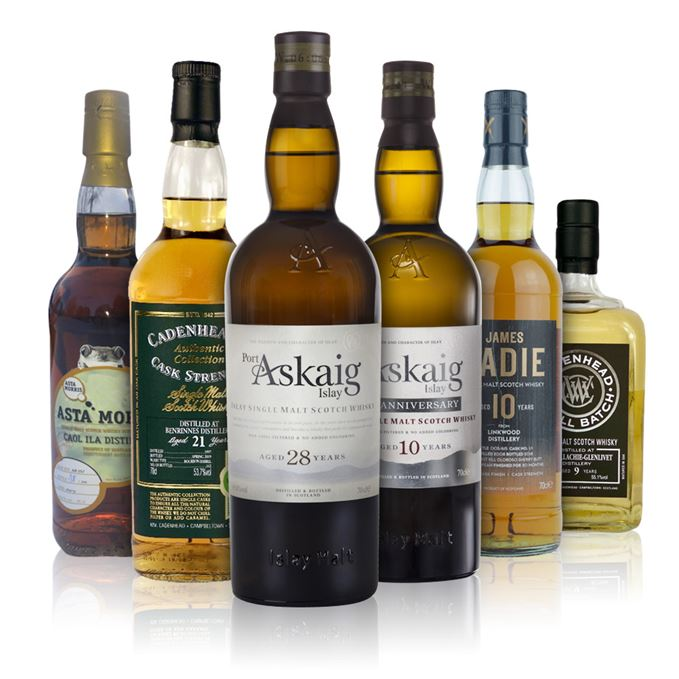 Benrinnes 21-year-old by Cadenhead; Caol Ila 7-year-old by Asta Morris; Craigellachie-Glenlivet 9-year-old by Cadenhead; Linkwood 10-year-old by James Eadie; Port Askaig 10-year-old 10th Anniversary; Port Askaig 28-year-old