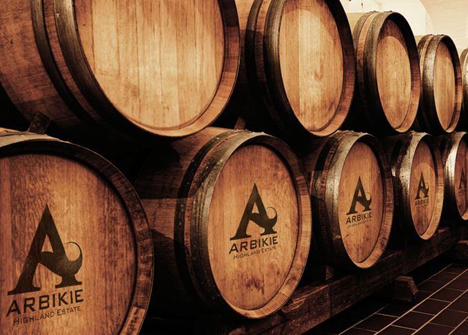 Casks at the Arbikie distillery
