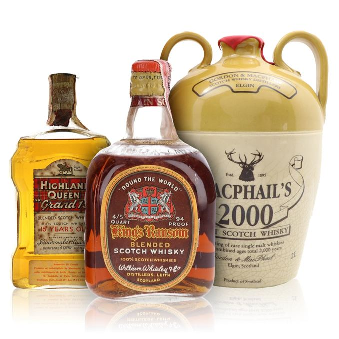 King's Ransom 'Round the World', Highland Queen 'Grand 15', MacPhail's 2000 2L decanter