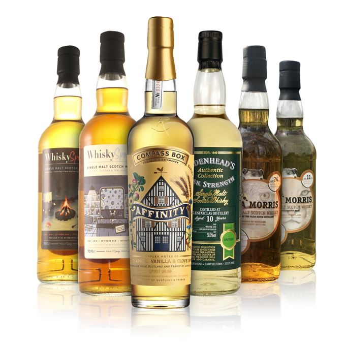 Compass Box Affinity; Campbeltown 21-year-old by Whiskysponge; Glenfarclas 10-year-old by Cadenhead's; Glen Keith 24-year-old by Asta Morris; Glen Moray 38-year-old by Whiskysponge; Single Orkney Malt 11-year-old by Asta Morris