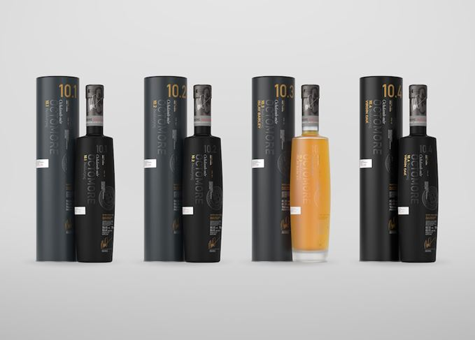 Octomore 10 bottles and canisters
