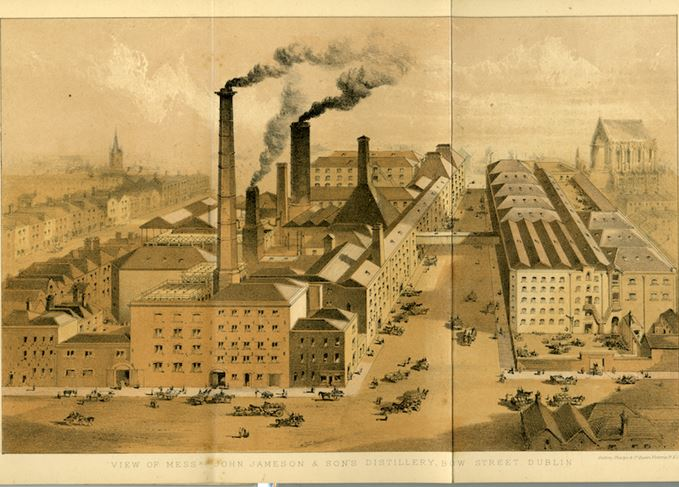Engraving of John Jameson's Bow Street distillery, 1878