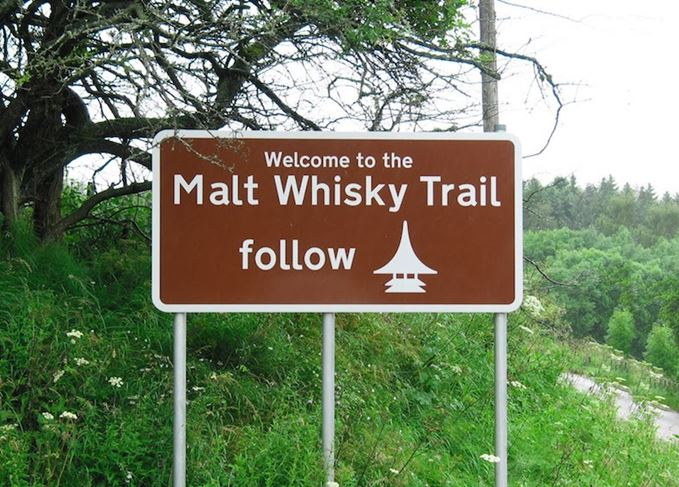 Malt Whisky Trail brown sign