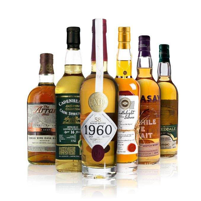 Isle of Arran 10 Years Old, Tuscan Wine Cask Matured, Glenfarclas 16 Years Old, 2001 (Cadenhead), Linkwood 19 years old Candlelight Series, North British 58 years old Incorporation Edition, Raasay While We Wait 2018 Edition and Tweeddale Grain of Truth.