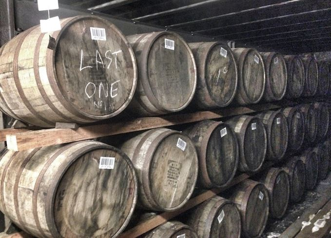Maturing casks of Scotch whisky