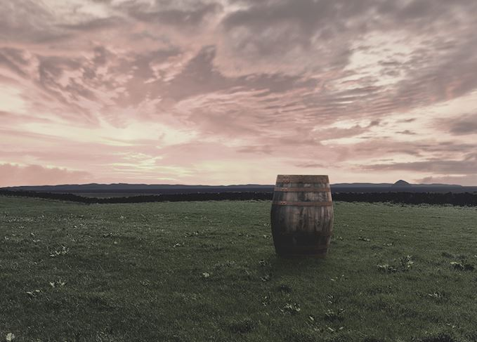 Lagg distillery cask and sunset