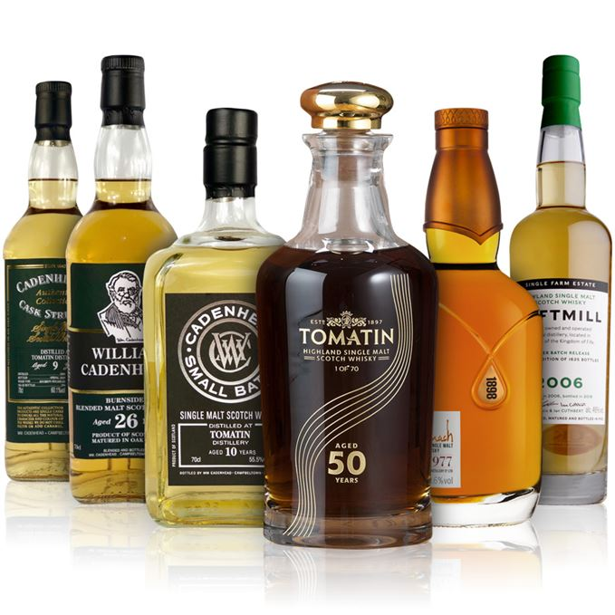 Tomatin 50, Cadenhead Tomatin 10, Tomatin 9 and Burnside blended malt, Benromach Vintage 1977 and Daftmill 2006 Winter Release