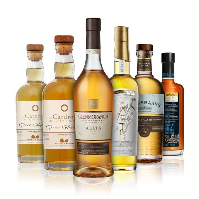 Arbikie Highland Rye, Cardrona Just Hatched ex-Bourbon, Cardrona Just Hatched ex-Sherry, Compass Box Stranger and Stranger, Glenmorangie Allta, Kingsbarns Dream to Dram.