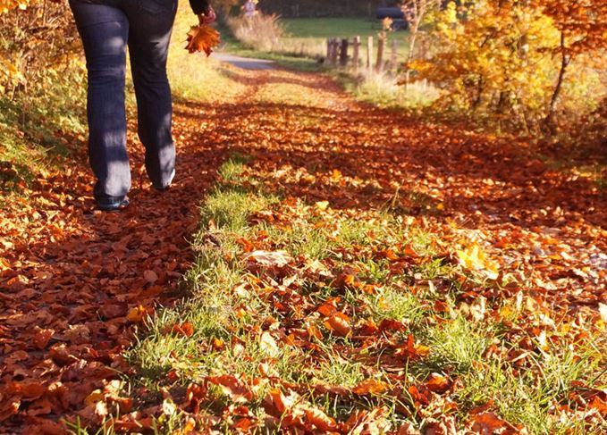 Autumn walk with a hipflask