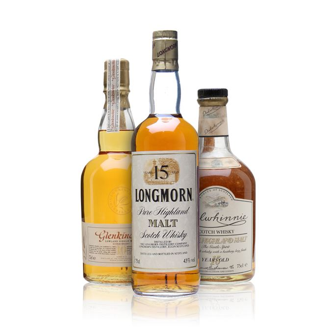 Dalwhinnie 15 year old, Longmorn 15 year old, Glenkinchie 10 year old