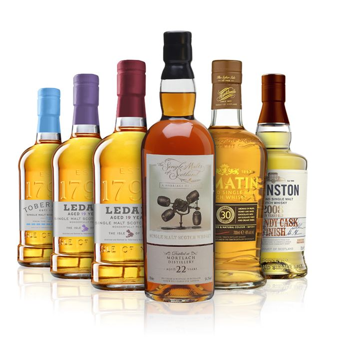 Deanston Brandy Cask Finish, Ledaig 19 Years Old oloroso and PX finishes, Mortlach marriage of casks, Tobermory 12 years old and Tomatin 30 years old.