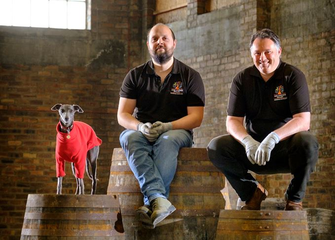 Holyrood distillery dog Laika, head distiller Jack Mayo and co-founder David Robertson