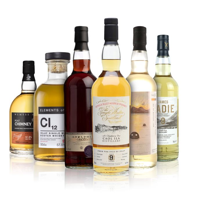 Caol Ila 8 Years Old (Adelphi); Caol Ila 9 Years Old, Small Batch (James Eadie); Caol Ila 9 Years Old (Single Malts of Scotland); Caol Ila 10 Years Old (Thompson Brothers); Cl12, Elements of Islay (Elixir Distillers); Peat Chimney, Batch Strength, Batch 2 (Wemyss Malts)