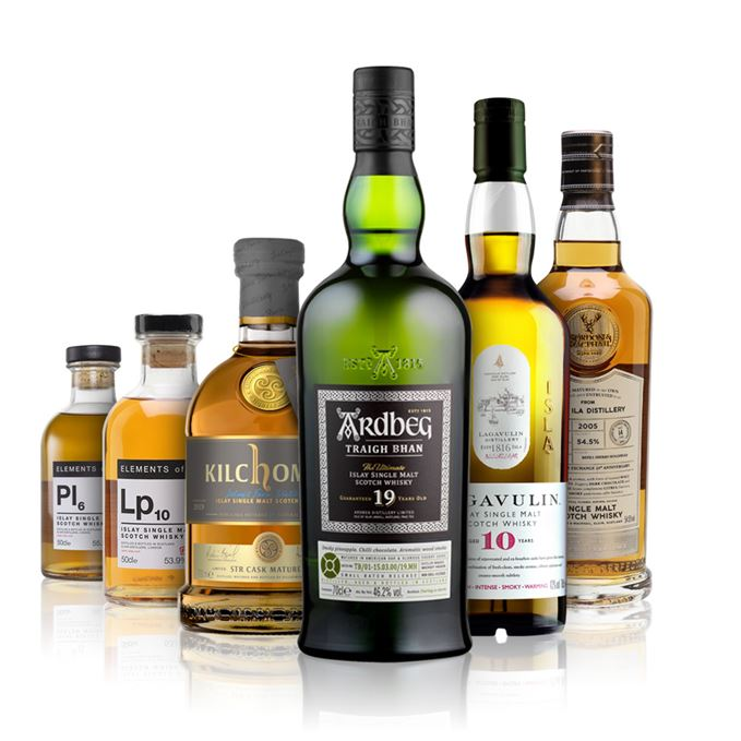 Pl6 and Lp10 from Elements of Islay, Kilchoman STR Cask Matured, Lagavulin 10, Ardbeg 19 Traig Bhan, Caol Ila 14 from Gordon and MacPhail