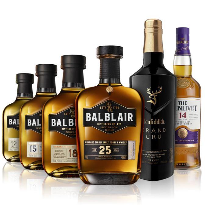 Balblair 12, 15, 18, 25-year-old, Glenfiddich Grand Cru, Glenlivet 14 Year Old Cognac Finish
