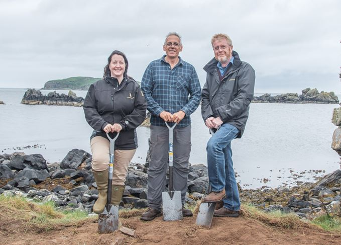 Ground breaking: (L-R) Georgie Crawford, Professor of Archaeology Steve Mithen, and Nick Morgan