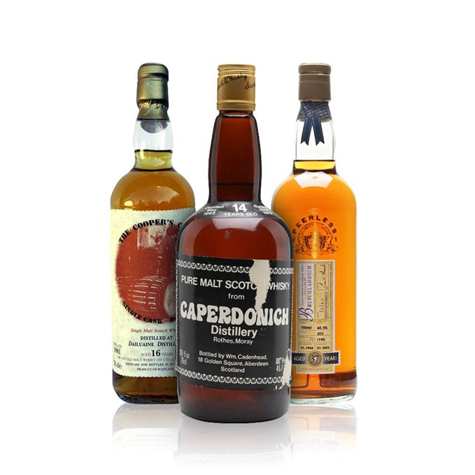Bruichladdich 37 Years Old, Bottled 2003 (Duncan Taylor); Caperdonich 14 Years Old (Cadenhead); Dailuaine 16 Years Old (Cooper's Choice)