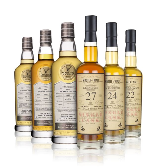 A 24-year-old Glen Keith, 22-year-old Allt-a-Bhainne and a 27-year-old Glenlivet from Master of Malt. A 15-year-old Glenlivet, a Tormore 23-year-old and a 24-year-old Glen Keith from Gordon & MacPhail