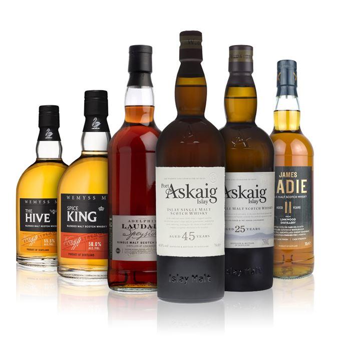 The Hive, Batch Strength, Batch No.002 (Wemyss Malts); Linkwood 12 Years Old, Laudale, Batch 2 (Adelphi); Linkwood 11 Years Old, Amontillado Finish (James Eadie); Port Askaig 25 Years Old (ImpEx Brands); Port Askaig 45 Years Old (ImpEx Brands); Spice King, Batch Strength, Batch No.002 (Wemyss Malts)