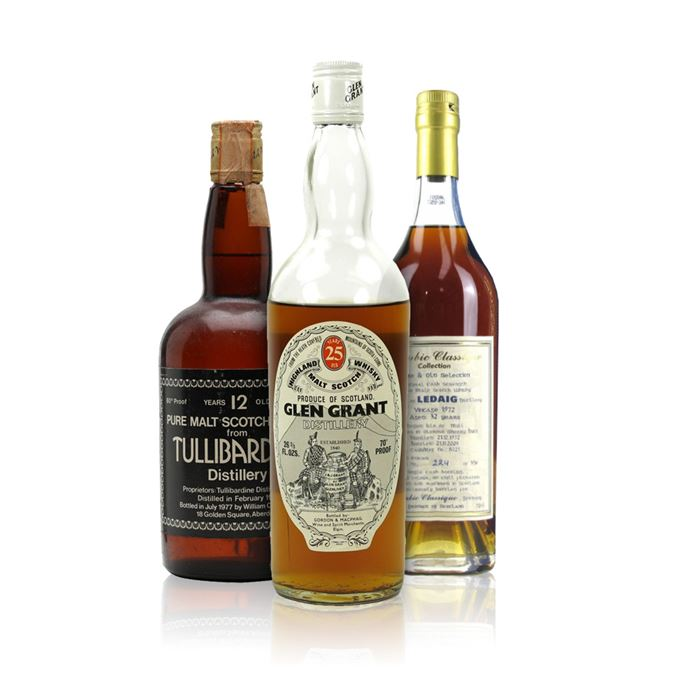 Gordon and MacPhail's Glen Grant 25-year-old; Ledaig 32-year-old Alambic Classique; Cadenhead Dumpy series Tullibardine 12-year-old
