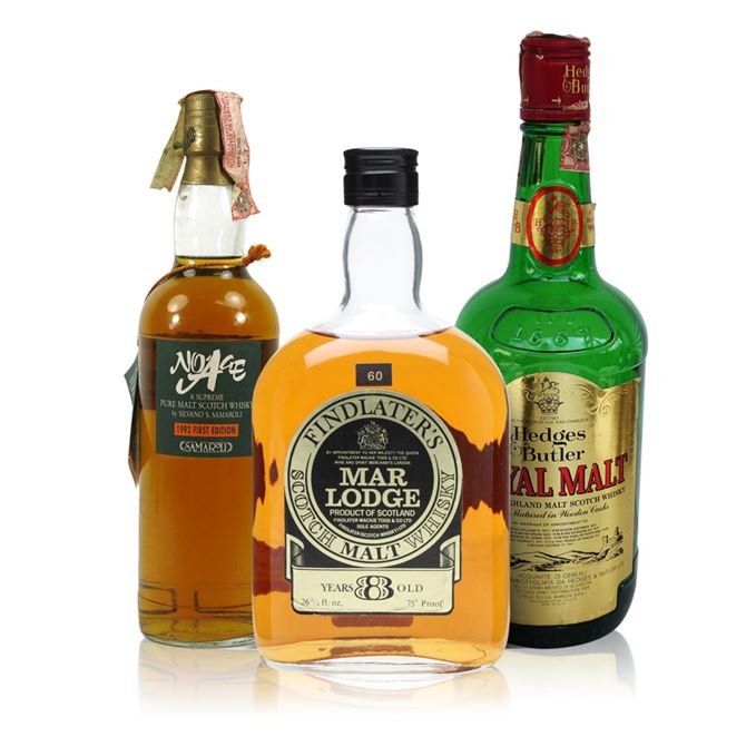 Findlater's Mar Lodge 8 Year Old, Hedges & Butler Royal Malt and Samaroli No Age