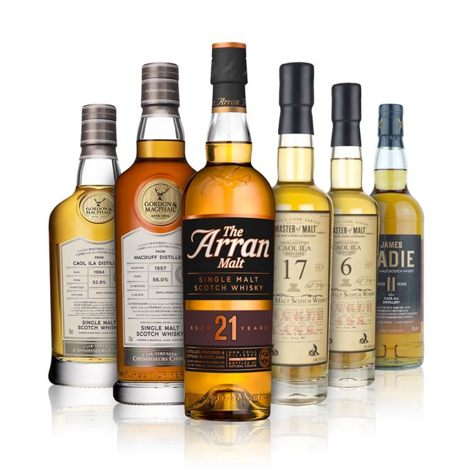 Arran 21, Caol Ila 6 and 17 years old from Master of Malt, Caol Ila 11 years old from James Eadie, Caol Ila 33 years old and Macduff 20 years old from Connoisseurs Choice.
