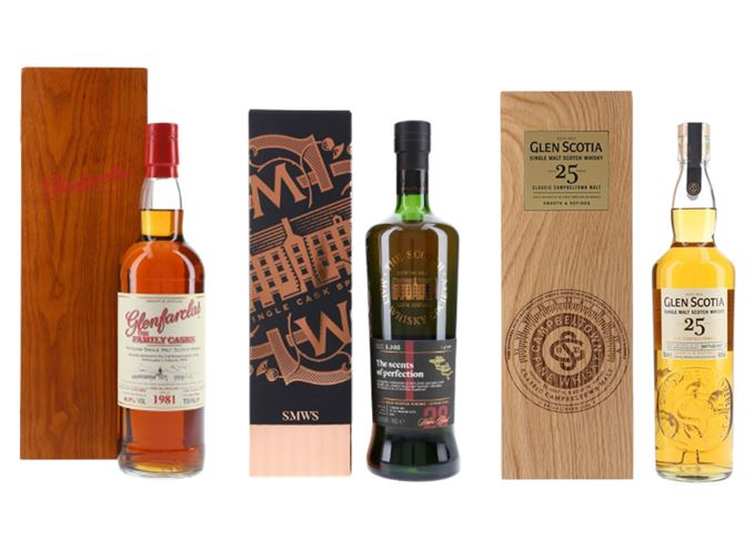 Glenfarclas 1981 Family Casks Special Release, 1989 Bowmore by SMWS and a 25-year-old Glen Scotia