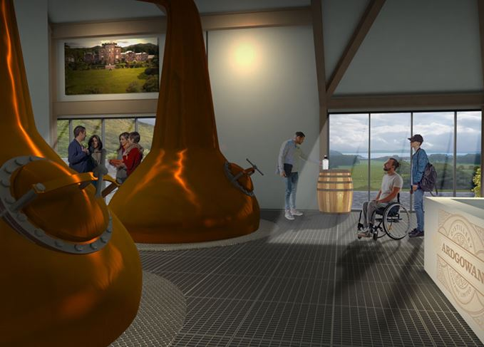 An artists impression of Ardgowan distillery's stills