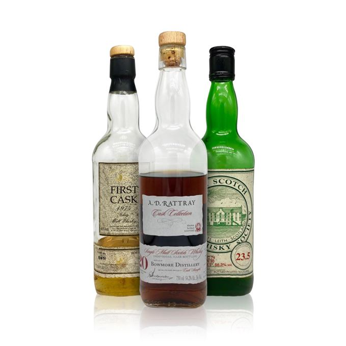 Bowmore 1991 20-year-old AD Rattray, Bruichladdich 1974 23.5 SMWS, Caol Ila 1974 23-year-old First Cask.