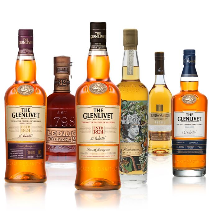 A range of whiskies tasted.