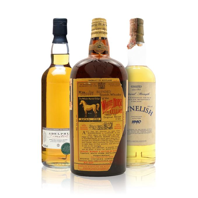 Aultmore 35 Years Old, Cask #3739, Bottled 2010 (Adelphi); Clynelish 8 Years Old, Cask #1015 and 1016, Bottled 1998 (Samaroli); White Horse, Bottled c.1940s for the US, Spring Cap