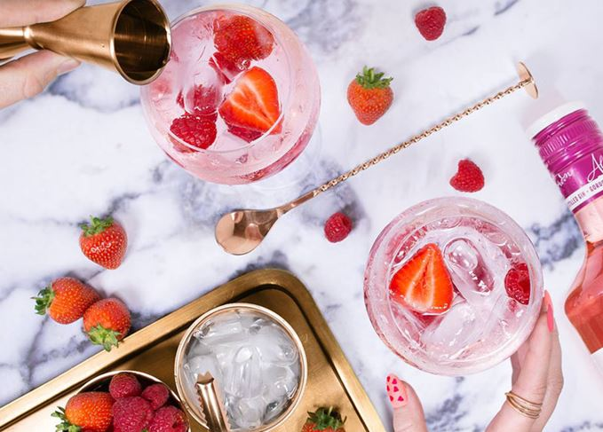 Pink gin and tonic, made at a Scottish whisky distillery