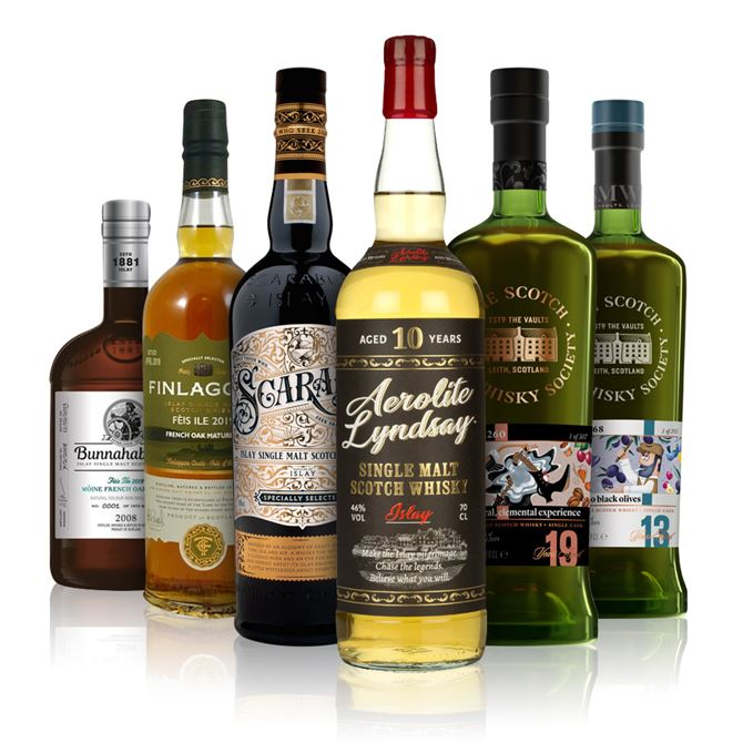 10.168 Cuquillo Black Olives, 13 Years Old (SMWS); 29.260 A Visceral, Elemental Experience, 19 Years Old (SMWS); Aerolite Lindsay, ATOM Brands; Bunnahabhain Mòine French Oak Finish; Finlaggan, Feis Ile 2019, French Oak Matured; Scarabus, Hunter Laing