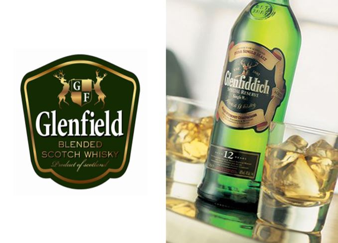 Glenfiddich and Glenfield whisky labels