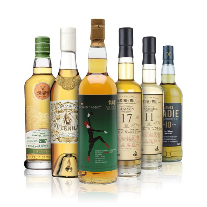 Tomatin 2006 Discovery, Compass Box Juveniles, Speyside Region 43-year-old from The Whisky Agency, Tomatin 17 and Strathmill 11 from Master of Malt, Strathmill 10 from James Eadie
