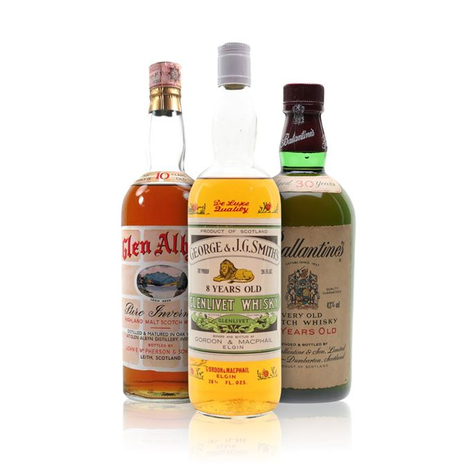 Ballantine's 30 Years Old, Glen Albyn 10 Years Old, Smith's Glenlivet 8 Years Old, 1970s