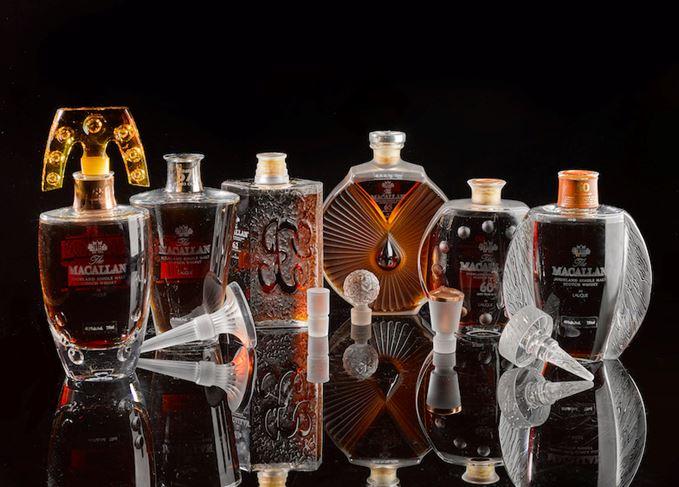 Macallan Lalique Six Pillars bottles