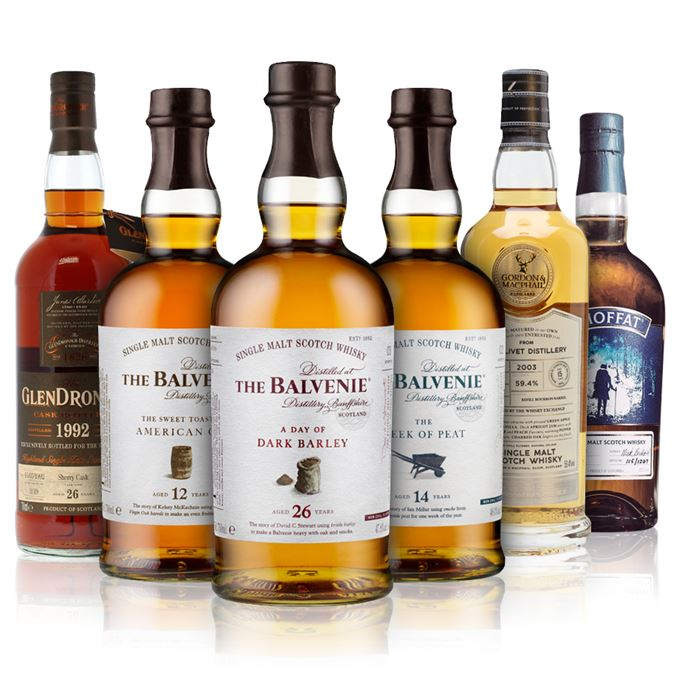 Balvenie 12 Years Old, The Sweet Toast of American Oak; Balvenie 14 Years Old, The Week of Peat; Balvenie 26 Years Old, A Day of Dark Barley; Glendronach 26 Years Old (The Whisky Shop); The Glenlivet 15 Years Old, (Gordon & MacPhail for The Whisky Exchange); The Moffat