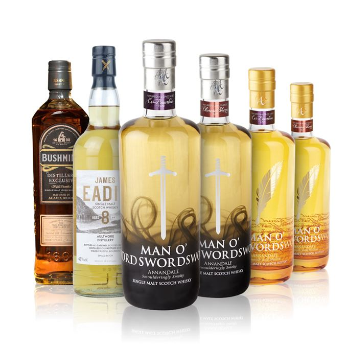 Annandale distillery's Man o'Words Sherry and Bourbon casks, Man o'Sword Sherry and Bourbon casks, James Eadie Aultmore and Bushmills Acacia Matured distillery exclusive.