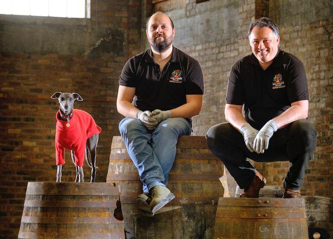 Holyrood distillery dog Laika, manager Jack Mayo, co-founder David Robertson