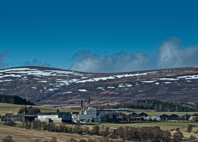 Glenlivet distillery in winter